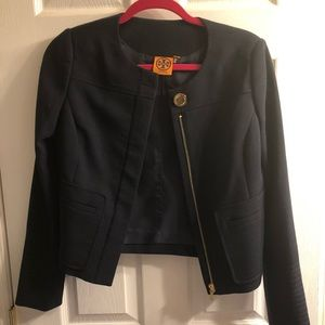 Tory Burch navy one button collarless jacket